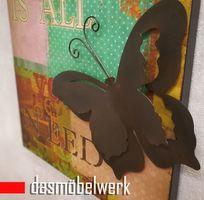 Deko Bild Deko Schild 3 D Schmetteling Textschild Wandschild Metall – Bild 3