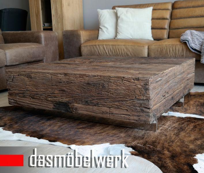 Massivholz Recycling Antik Look Holz Tisch Couchtisch 80 bis 100 cm – Bild 3