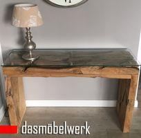 Konsolentisch Konsole Tisch massiv aus Teak Wurzelholz mit Glasplatte – Bild 3