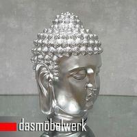 XL Buddha Deko Kopf 52 cm Figur Feng Shui Asia Skulptur S081 silber – Bild 2