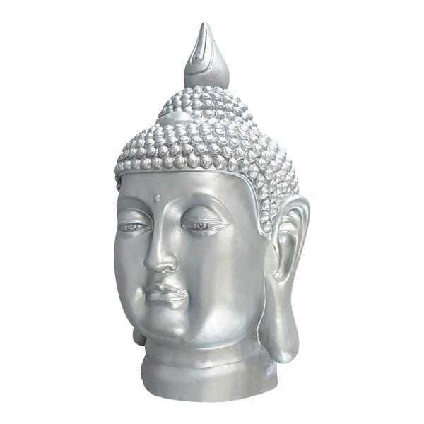 XL Buddha Deko Kopf 54 cm Figur Feng Shui Asia Skulptur S082 silber