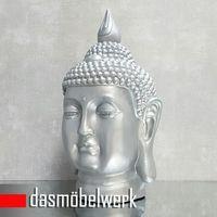 XL Buddha Deko Kopf 54 cm Figur Feng Shui Asia Skulptur S082 silber – Bild 1