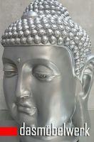 XL Buddha Deko Kopf 54 cm Figur Feng Shui Asia Skulptur S082 silber – Bild 3