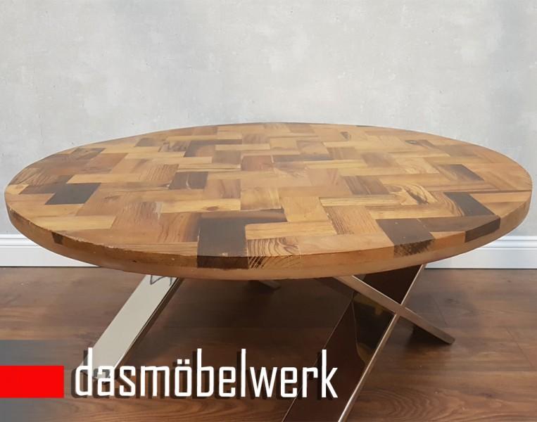 Massivholz Recycling Holz Antik Look Couchtisch Ø 100 cm  – Bild 2