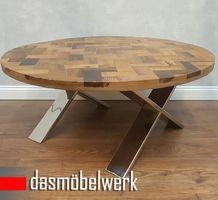 Massivholz Recycling Holz Antik Look Couchtisch Ø 100 cm  – Bild 1