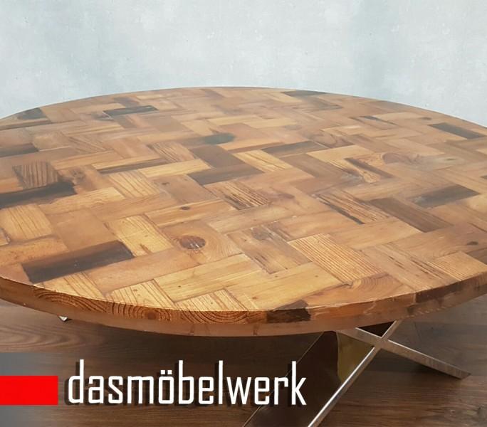 Massivholz Recycling Holz Antik Look Couchtisch Ø 120 cm  – Bild 2