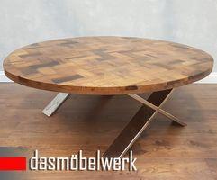 Massivholz Recycling Holz Antik Look Couchtisch Ø 120 cm  – Bild 1