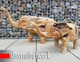 Teakholz Massivholz Elefant Figur  – Bild 4