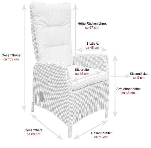 Polyrattan Gartensessel Relaxsessel PISA Cappuccino Hochlehner Sessel  – Bild 7