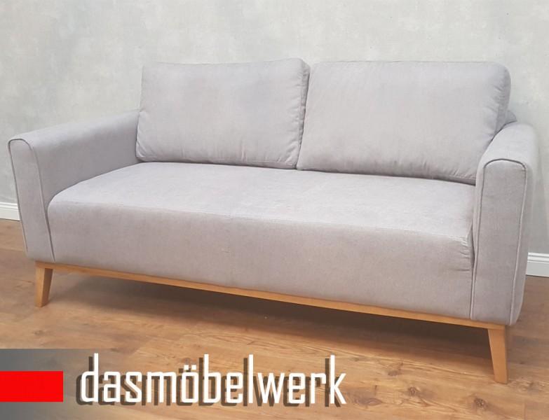 Sessel Sitzmöbel Polstermöbel Retro 3er Sofa Skandinavisch CAMPOS Grau – Bild 2