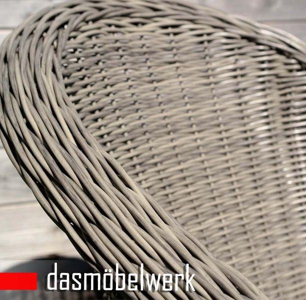 6er SET Gartensessel PANAMA Polyrattan Rattan Sessel Grau + Kissen – Bild 3