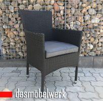 Sessel HAWAI aus Polyrattan schwarz stapelbar Gartensessel – Bild 1