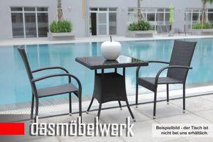 6er Stuhl Sessel Polyrattan PALERMO Stapelstuhl schwarz – Bild 3