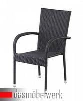 8er Set Stuhl Sessel Polyrattan PALERMO Stapelstuhl schwarz – Bild 2