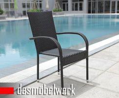 8er Set Stuhl Sessel Polyrattan PALERMO Stapelstuhl schwarz – Bild 1