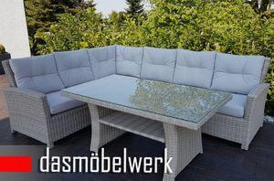 Lounge Poly Rattan Gartenmöbel Sitzgruppe Esstisch FLORENZ Silber Hell – Bild 3