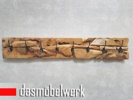 XXL Wand Garderobe Hakenleiste massiv Teak Holz Wandpaneel 8 Haken – Bild 2
