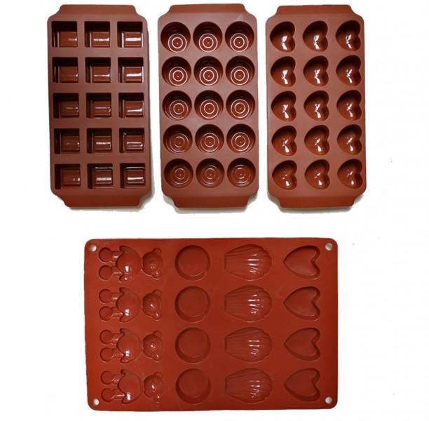 4er Set Silikon Eiswürfel Formen Eiswürfelbereiter Herz Kugel Würfel  – Bild 2