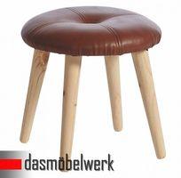 Retro Fußhocker Schemel Holz Hocker schwarz Ø 36 cm Deko 10.002.03 – Bild 1