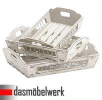 3-tlg. Set Deko Serviertablett Tablett Landhaus Shabby Chic 13.094.01