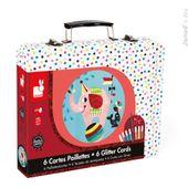 JANOD J07758 Kreativ-Koffer für Karten mit Glitzerfarbe 'Zirkus'