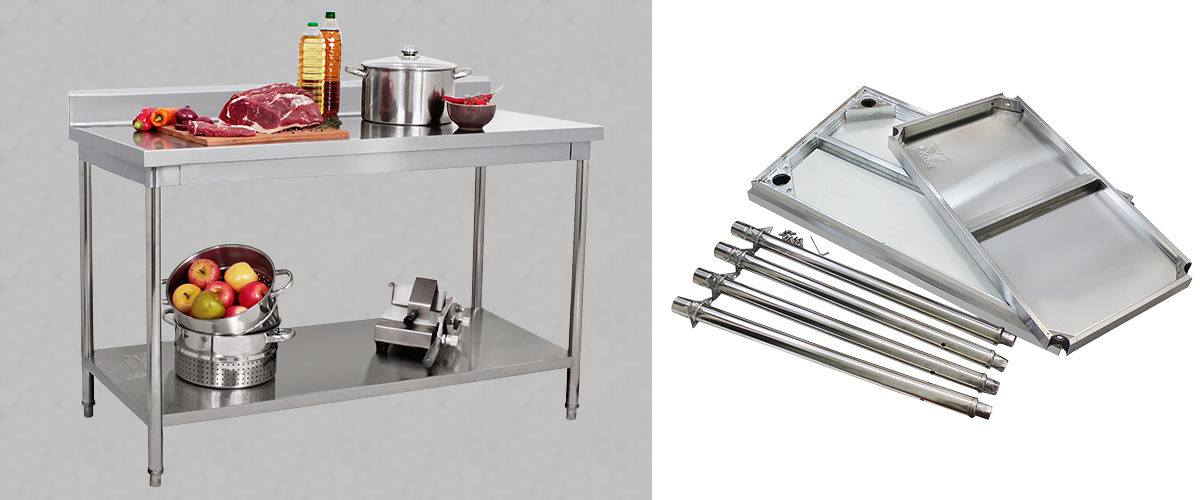 Stainless steel cutting table