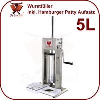 [Paket] Beeketal Wurstfüllmaschine Wurstfüller 5L inkl. Hamburger Patty Maschine 2 Gang Getriebe BT05P