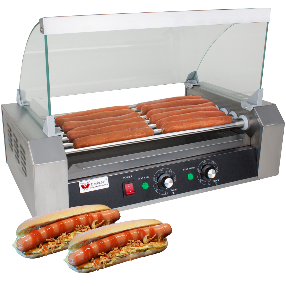 Beeketal HOT DOG Maker Profi Edelstahl Wurstkocher Würstchenwärmer Gastro-imbiss