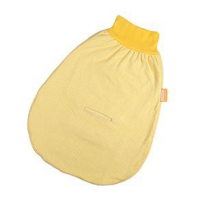 Hoppediz Strampelsack gelb-weiß gestreift, mit Gurtschlitz – Bild 1