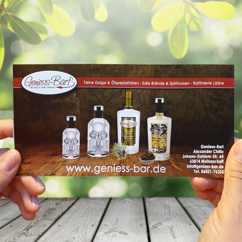 Geniess-Bar Geschenkgutschein für hochwertiges Olivenöl, Balsam Essig oder feine Spirituosen