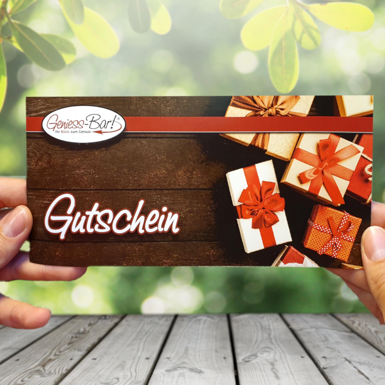 Geschenk Gutschein Geniess Bar für fruchtige Balsam Creme, hochwertige Öle und feine Spirituosen