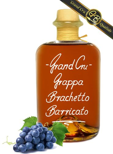 Grand Cru Grappa Brachetto Barricato Riserva 18 Mon. Barrique gereift 42%Vol