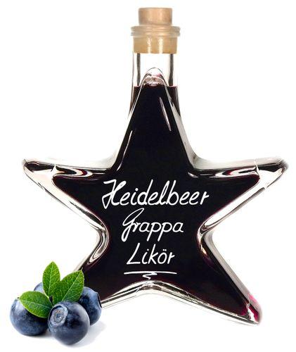Heidelbeer Grappa Likör in Stern Flasche 0,2 L Weihnachtsflasche Heidelbeerlikör 25% Vol