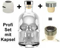 Totenkopf Flasche Skull leer 0,5 L Profi Set mit Titan Kappe & Schrumpfkapsel Piraten Schädel