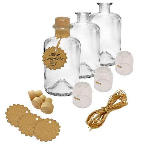 3x Apothekerflaschen Glas Geschenk Komplettset leer 1000 ml Anhänger Kapsel transparent Korken Bast zum selbst befüllen