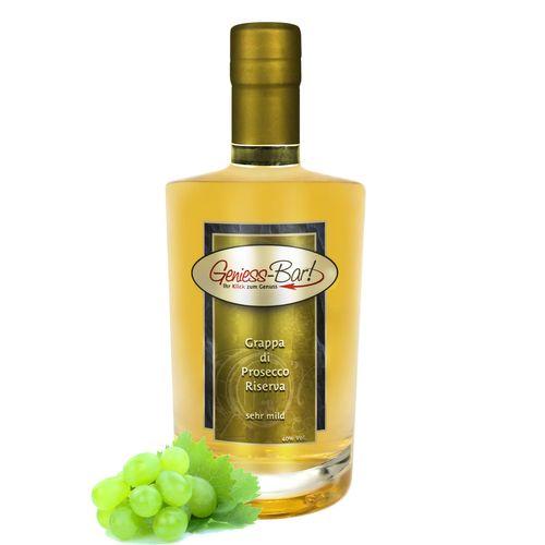 Grappa Prosecco Riserva holzfassgereifte Spitzengrappa sehr mild! 40% Vol.