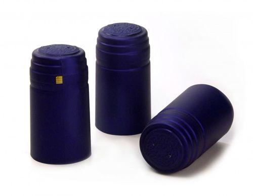 10 x Schrumpfkapsel Saphir blau seidenmatt Flaschenkapsel mit Siegel