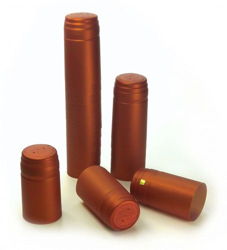 10x Schrumpfkapsel Kupfer orange seidenmatt Flaschenkapsel mit Siegel