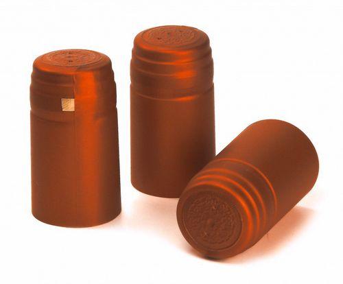 100x Schrumpfkapsel für Glas Flaschen Kupfer orange seidenmatt Flaschenkapsel mit Siegel
