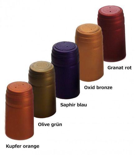 100x Schrumpfkapsel Kupfer orange seidenmatt Flaschenkapsel mit Siegel