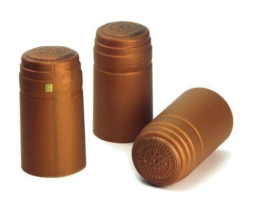 250x Schrumpfkapsel Oxid bronze seidenmatt Flaschenkapsel mit Siegel