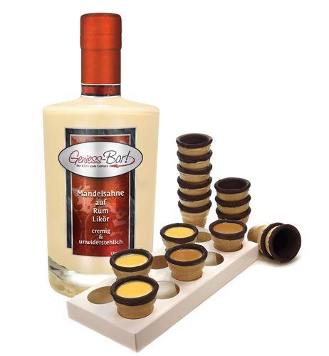 Mandelsahne auf Rum Likör mit 8 knusprigen Schoko Waffelbechern & Becherhalter 18% Vol.