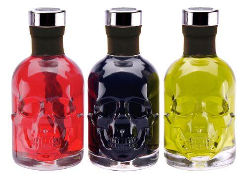 Absinth Totenkopf Trio je 0,2L Green/Black/Red Chili Mit max. erlaubtem Thujon 35 mg/L 55%Vol