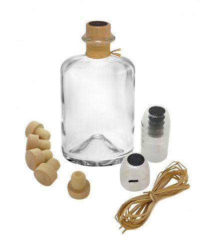 20x Profi Set Apothekerflaschen leer 700ml Glasflaschen mit Kapsel Korken Bast
