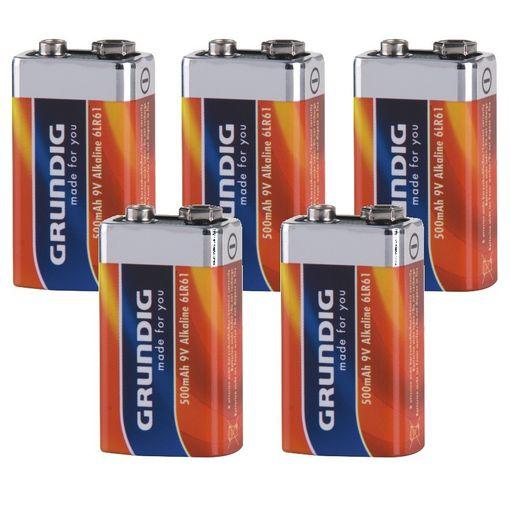 5 x Alkaline 9V BLOCK Batterien 500mAh 6LR61 Grundig # 14124