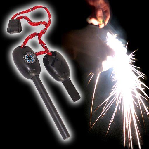 Survival KIT mit Feuerstein, Kompass, Säge und Pfeife # 206362 Outdoor Feuer machen