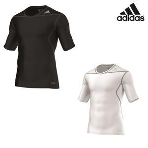 adidas TechFit BASE SS Tee T-Shirt Unterziehshirt schwarz / weiß – Bild 1