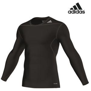 adidas TechFit BASE LS Tee Langarm-Shirt Unterziehshirt schwarz / weiß – Bild 2