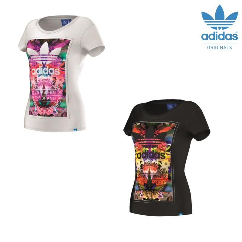 adidas originals flower madness t shirt damen wei schwarz mode damen t shirts. Black Bedroom Furniture Sets. Home Design Ideas