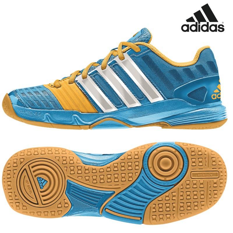 new style d1db7 b815d adidas adiPower Stabil 11 xJ Handballschuhe Kinder blaugelbweiß